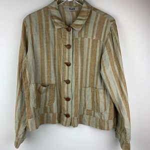 Flax Striped Small Shirt Jacket